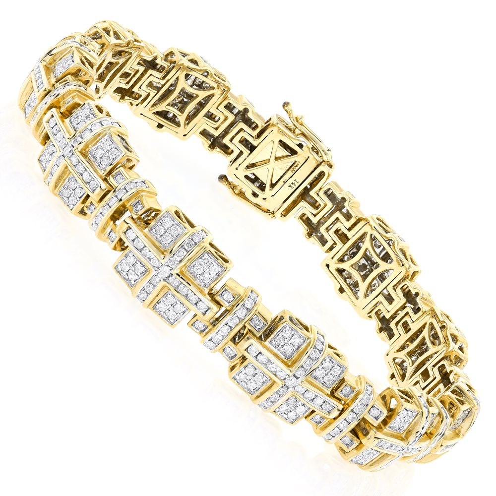 14K Gold Mens Round Diamond Bracelets Piece 6.87ct Yellow Image