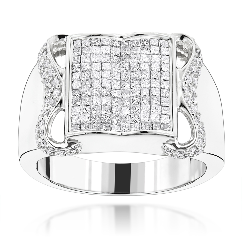 14K Gold Mens Round Princess Cut Diamond Ring 1.77ct White Image