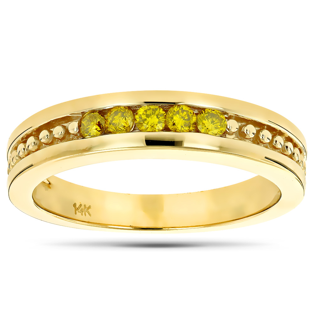 14K Gold Mens Womens Yellow Diamond Wedding Band 5 Stone Anniversary Ring Yellow Image