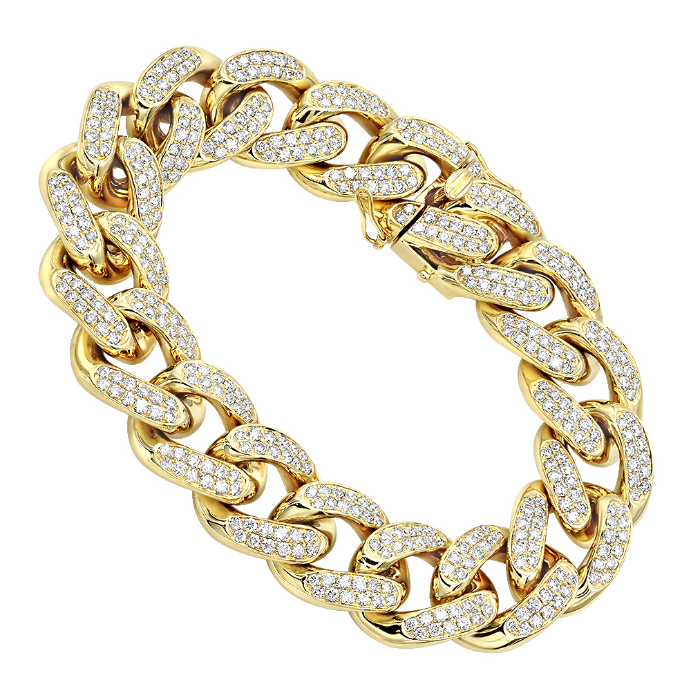14K Gold Miami Cuban Link Chain Diamond Bracelet for Men 11.05ct Yellow Image