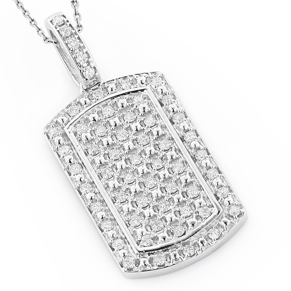 Luxurman 14k Gold Mini Diamond Dog Tag Pendant w VS Diamonds 0.7ct White Image
