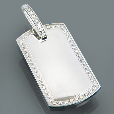 14K Gold Oversized Diamond Dog Tag Pendant 1 carat