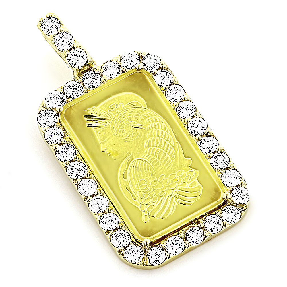 24K Gold Pamp Suisse Bar Diamond Pendant 2.5ct Dog Tag Main Image