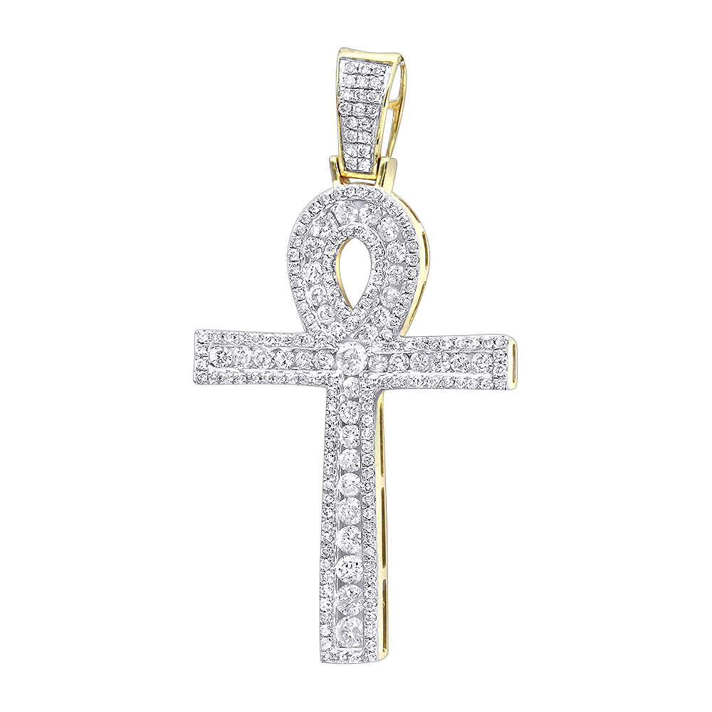 14k Gold Pave Ankh Diamond Cross Pendant for Men Egyptian Symbol of Life Yellow Image