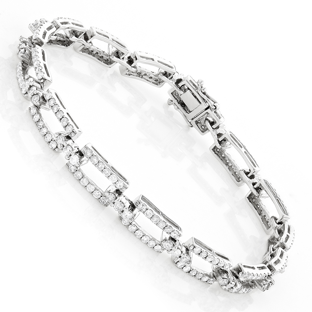 14K Gold Pave Diamond Bracelet 4.23ct White Image