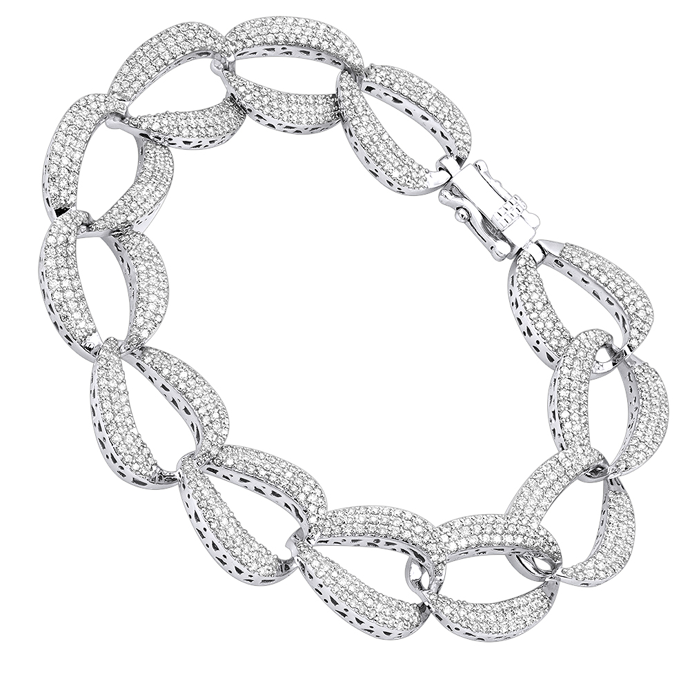14K Gold Pave Diamond Chain Link Bracelet for Women 3.75ct by Luxurman White Image