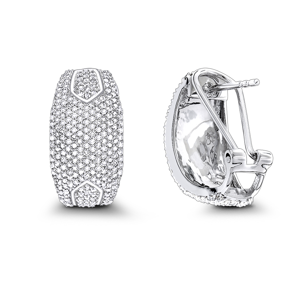 14K Gold Pave Diamond Earrings 1.0ct White Image