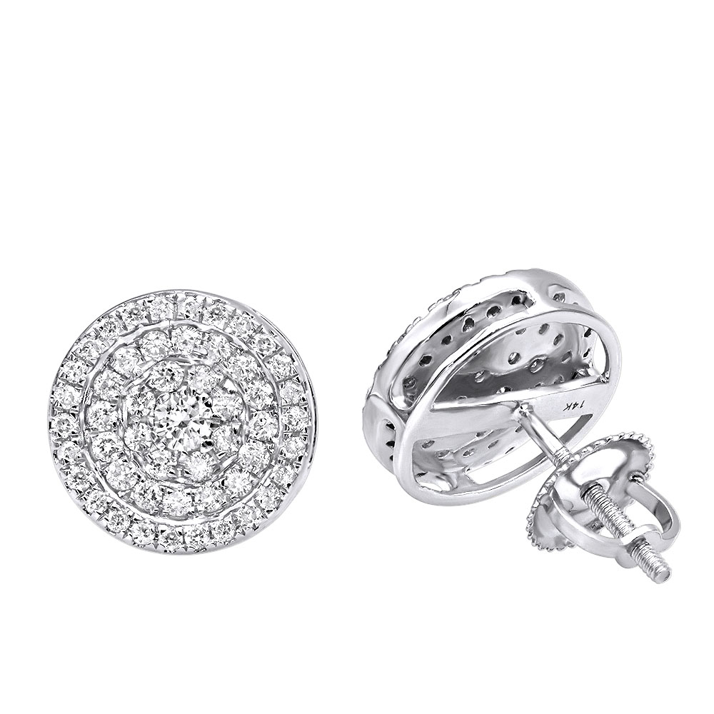 0a80690d4 14k Gold Pave Diamond Earrings for Men & Women 3/4ct Studs Real Diamonds  White