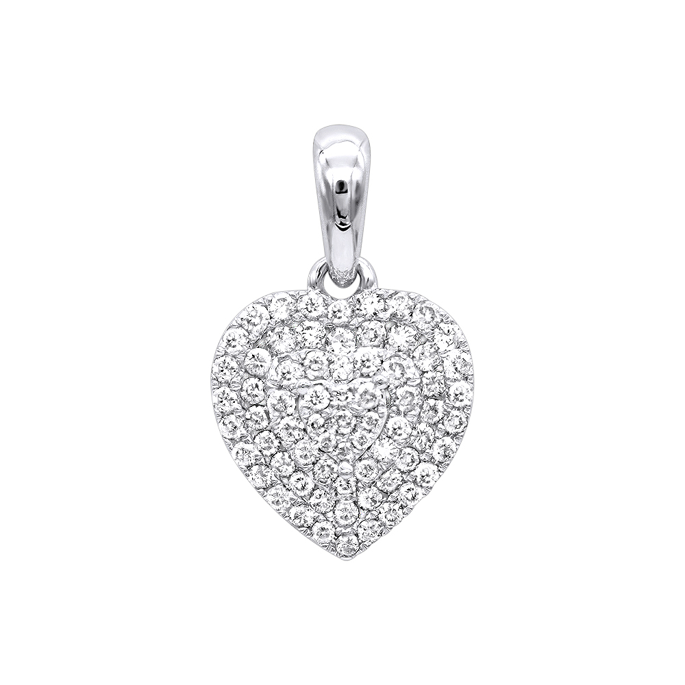 14K Gold Pave Diamond Heart Pendant for Women .5ct by Luxurman White Image