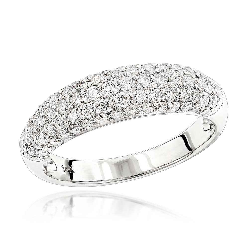 Unique Diamond Wedding Band for Women 14K Gold Pave Diamond Ring 1.3ct White Image