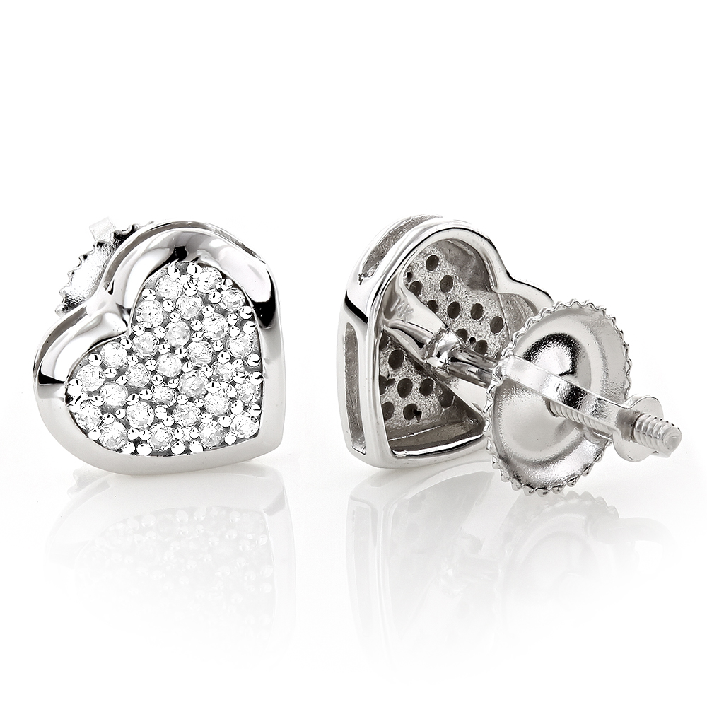 14K Gold Pave Heart Diamond Stud Earrings 0.33ct
