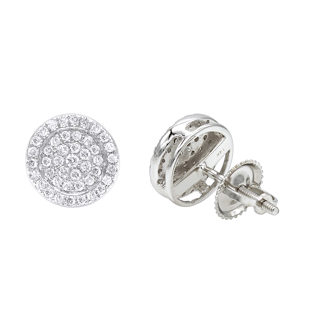 14K Gold Pave Round Diamond Stud Earrings 0.35ct by Luxurman White Image