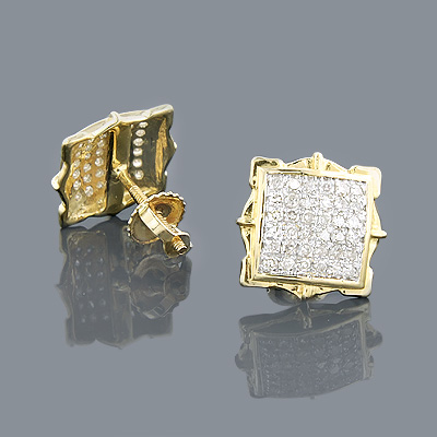 14K Gold Pave Round Diamond Stud Earrings 0.44ct