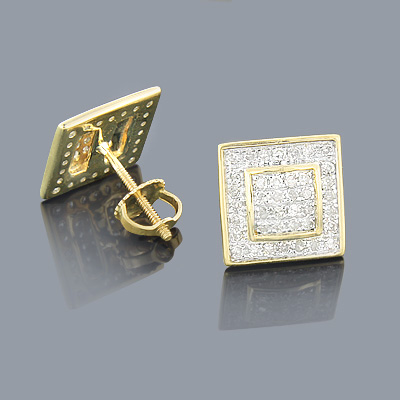 14K Gold Pave Round Diamond Stud Earrings 0.50ct
