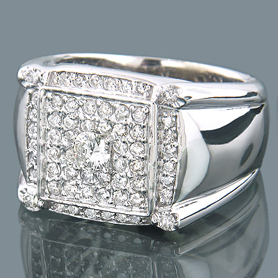 14K Gold Pave Set Mens Round Diamond Ring 1.80ct