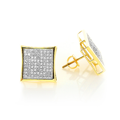 14K Gold Pave Set Round Diamond Earrings 0.87ct 14K Gold Pave Set Round Diamond Earrings 0.87ct