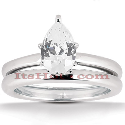 14K Gold Pear Cut Engagement Ring Set 0.75ct Main Image
