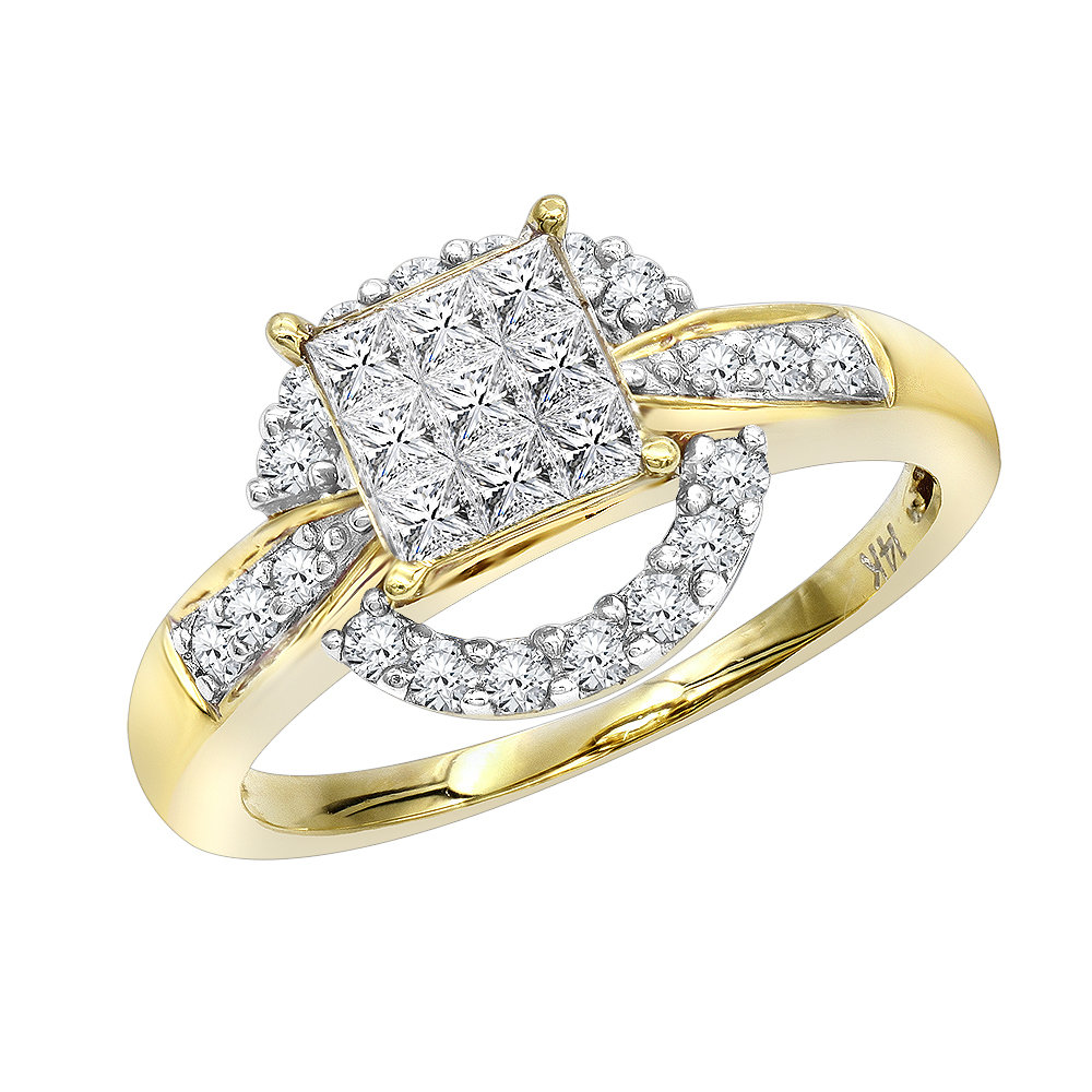 14K Gold Pre-set Diamond Engagement Ring 0.8 ct Yellow Image