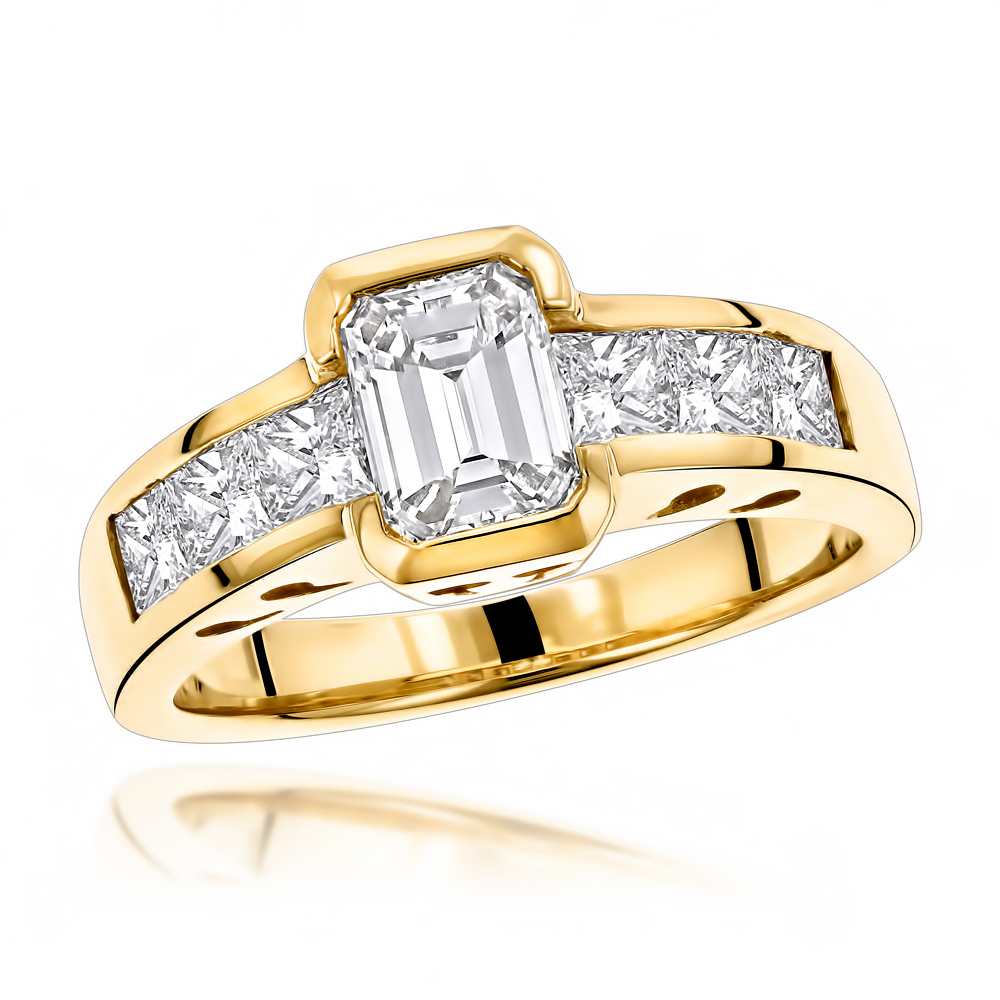 Unique 4 Carat Princess & Emerald Cut Diamond Engagement Ring in 14k Gold Yellow Image