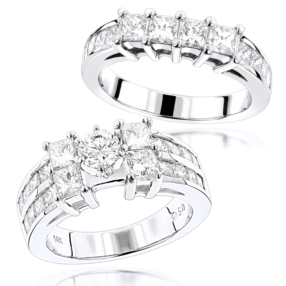 14K Gold Princess and Round Diamond Engagement Ring Set 4.75ct White Image
