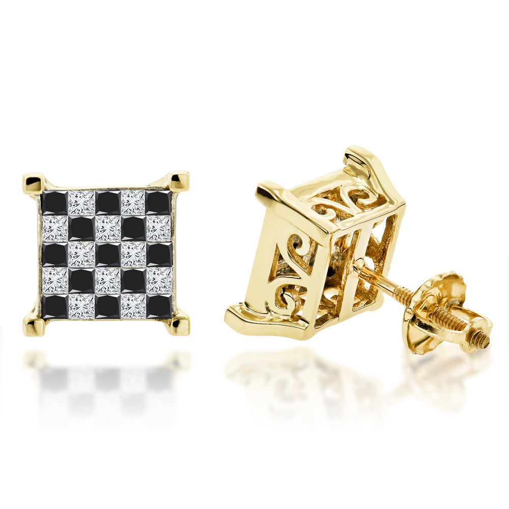 14K Gold Princess Cut Black Diamond Earrings 1.31ct Yellow Image