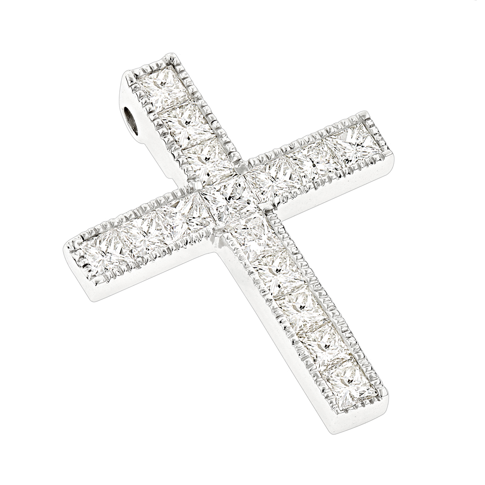 14K Gold Princess Cut Diamond cross necklace 2.55ct White Image