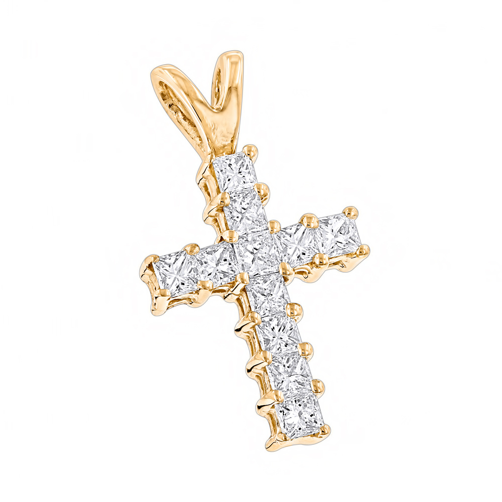 14K Gold Princess Cut Diamond Cross Pendant 0.55ct Yellow Image