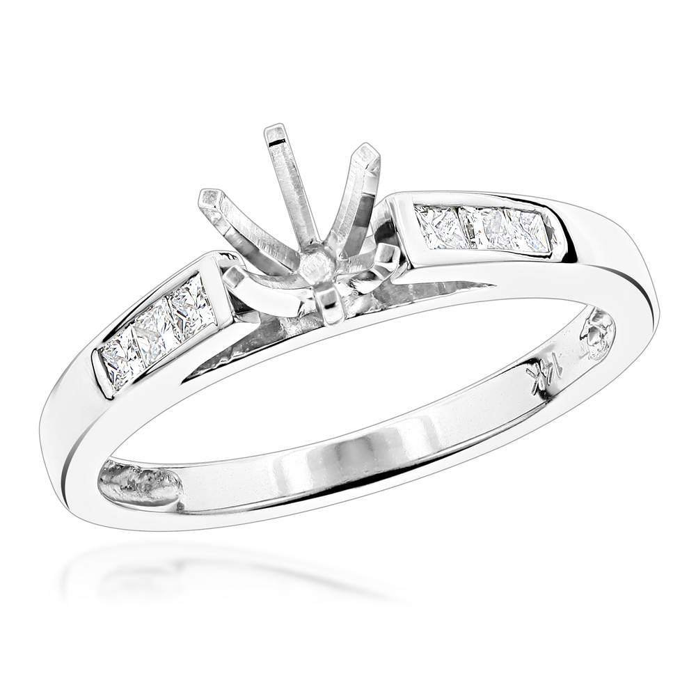 14K Gold Princess Cut Diamond Engagement Ring Mounting 1/4 Carat Six Prong White Image