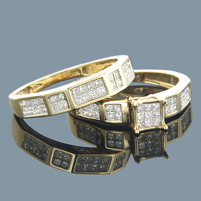 14K Gold Invisible Set Princess Cut Diamond Engagement Ring Bridal Set 1.19 Main Image
