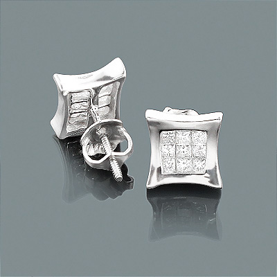14K Gold Princess Cut Diamond Kite Stud Earrings .33ct Main Image