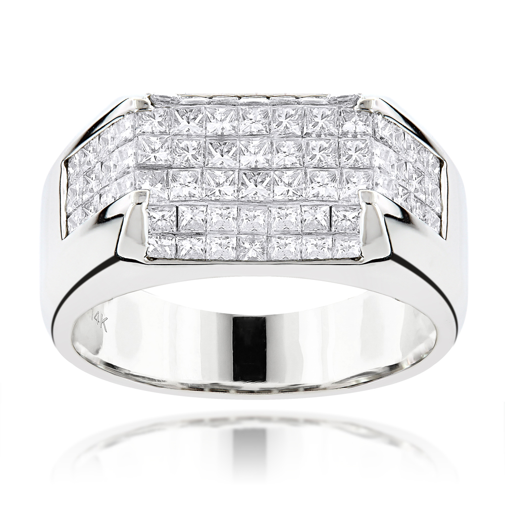 14K Gold Princess Cut Diamond Mens Ring Band 3.5ct White Image