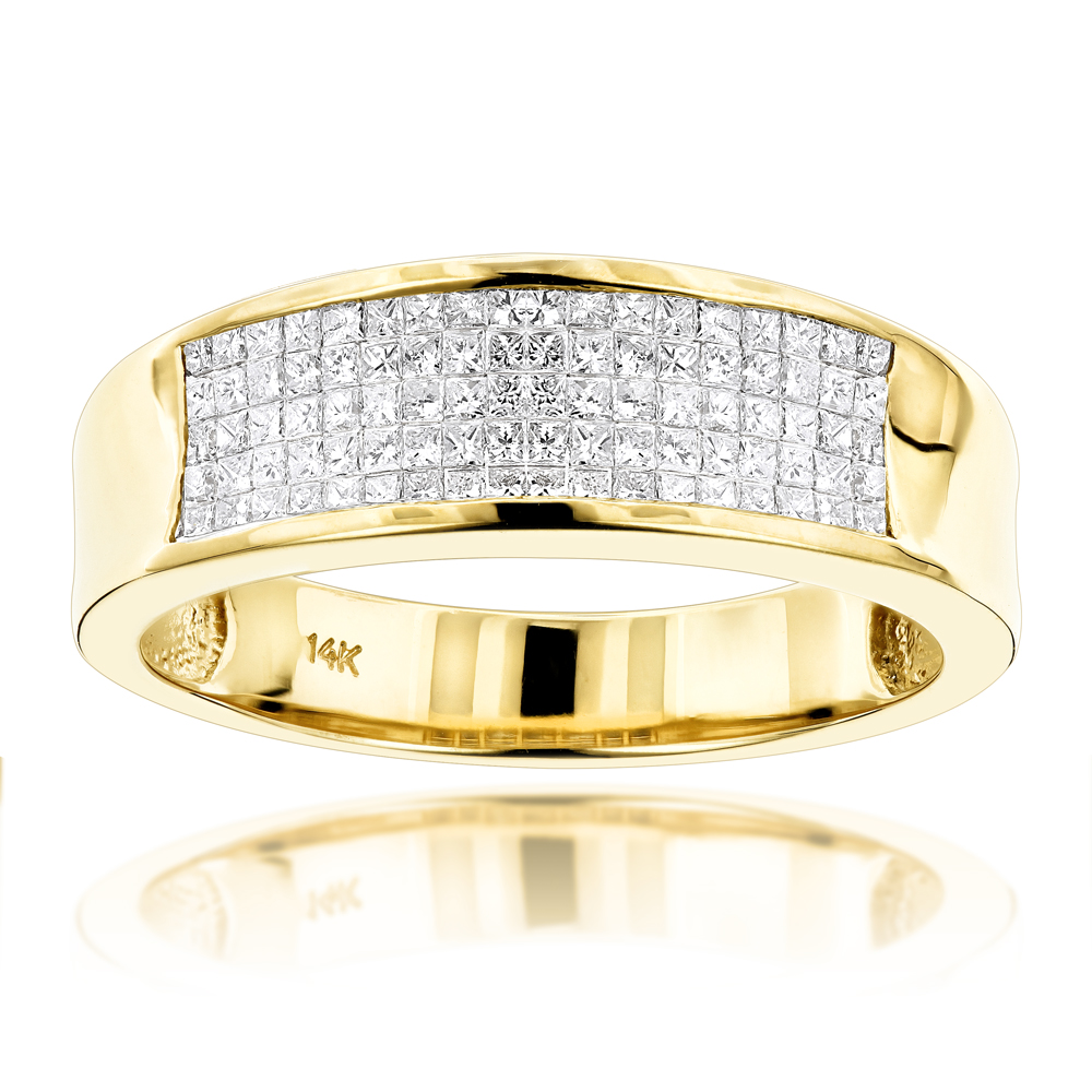 14K Gold Princess Cut Diamond Mens Wedding Ring 1.50ct Yellow Image