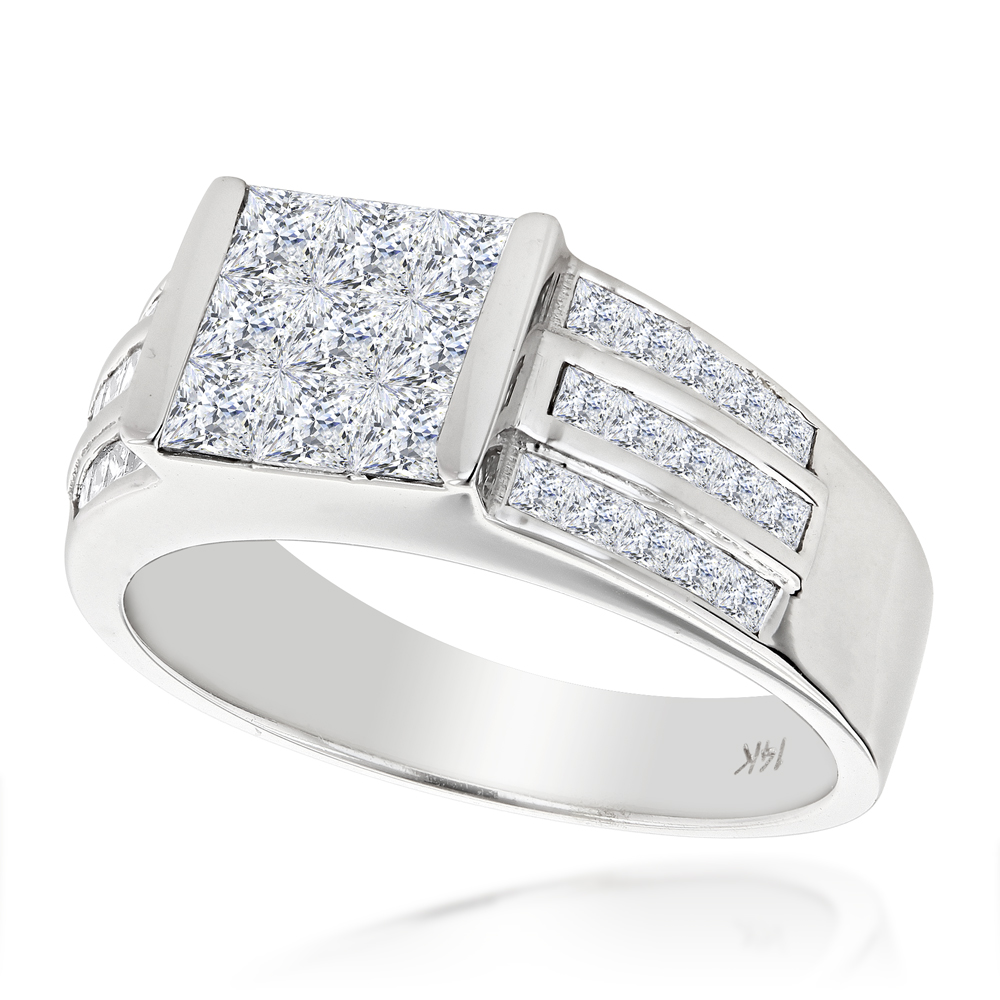 14K Gold Princess Cut Diamond Ring 1.75ct Unique Wedding Band