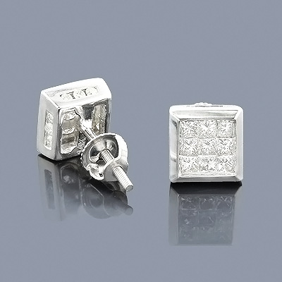 14K Gold Princess Cut Diamond Stud Earrings 0.92ct Main Image