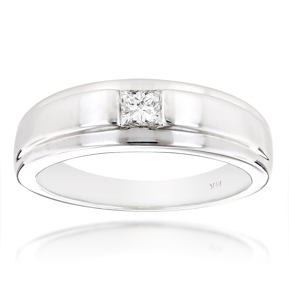 Solitaire 14K Gold Princess Cut Diamond Wedding Band 0.25ct White Image