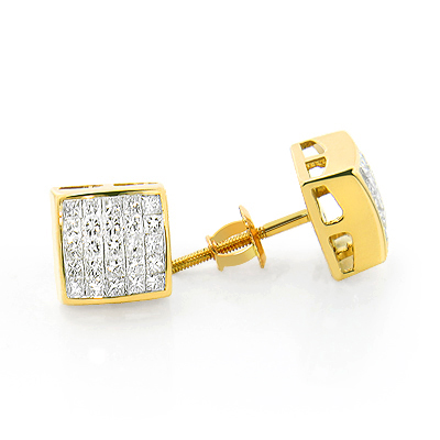 14K Gold Princess Cut Invisible Diamond Earrings 1.1ct
