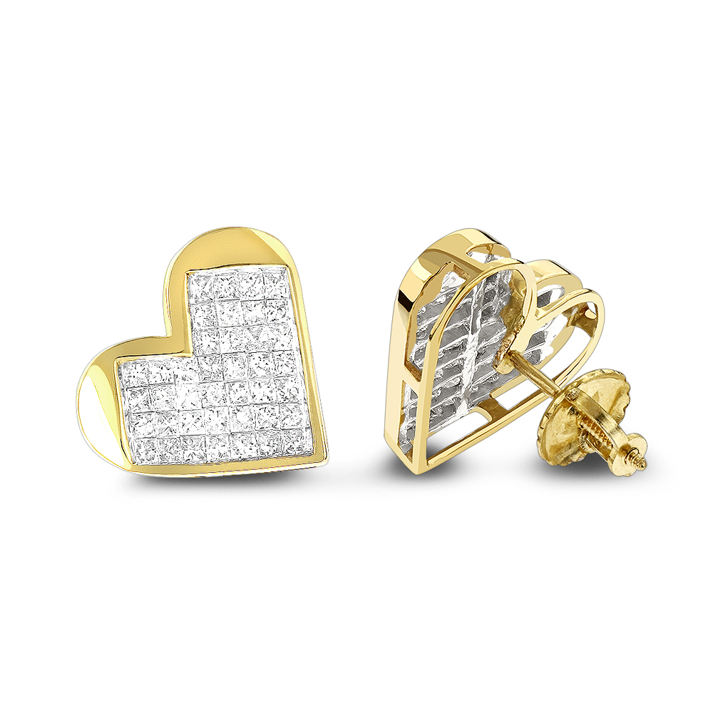 14K Gold Princess Diamond Heart Earrings 0.88ct