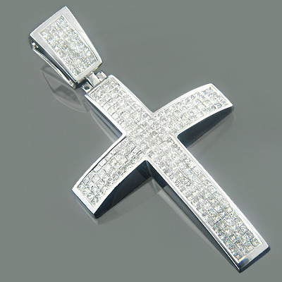 Large 14K Gold Princess Diamond Mens Cross Pendant 5.95ct