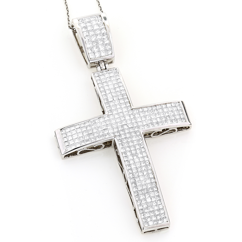 14K Gold Princess Invisible Diamond Cross Pendant 7.53 White Image
