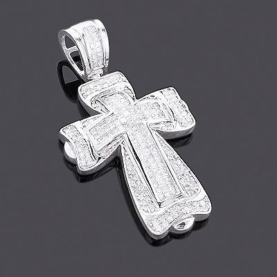 14K Gold Princess & Round Diamond Cross Pendant 2.28ct Main Image