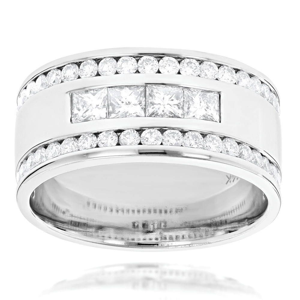 14K Gold Princess Round Diamond Mens Ring Comfort Fit Diamond Band 2.15ct White Image