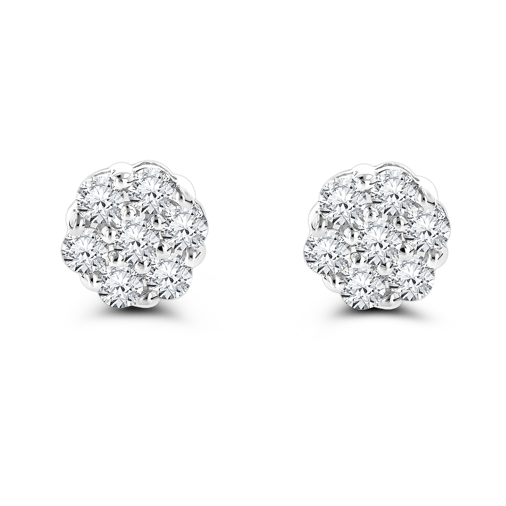 14K Gold Prong Round Diamond Clusters Earrings 1ct Studs White Image