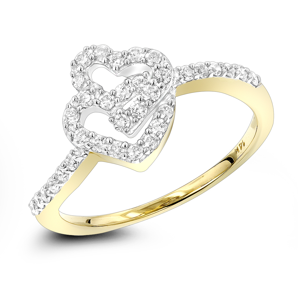 14K Yellow Gold Rings Double Heart Diamond Ring for Women Two Tone 0.4ct Yellow Image