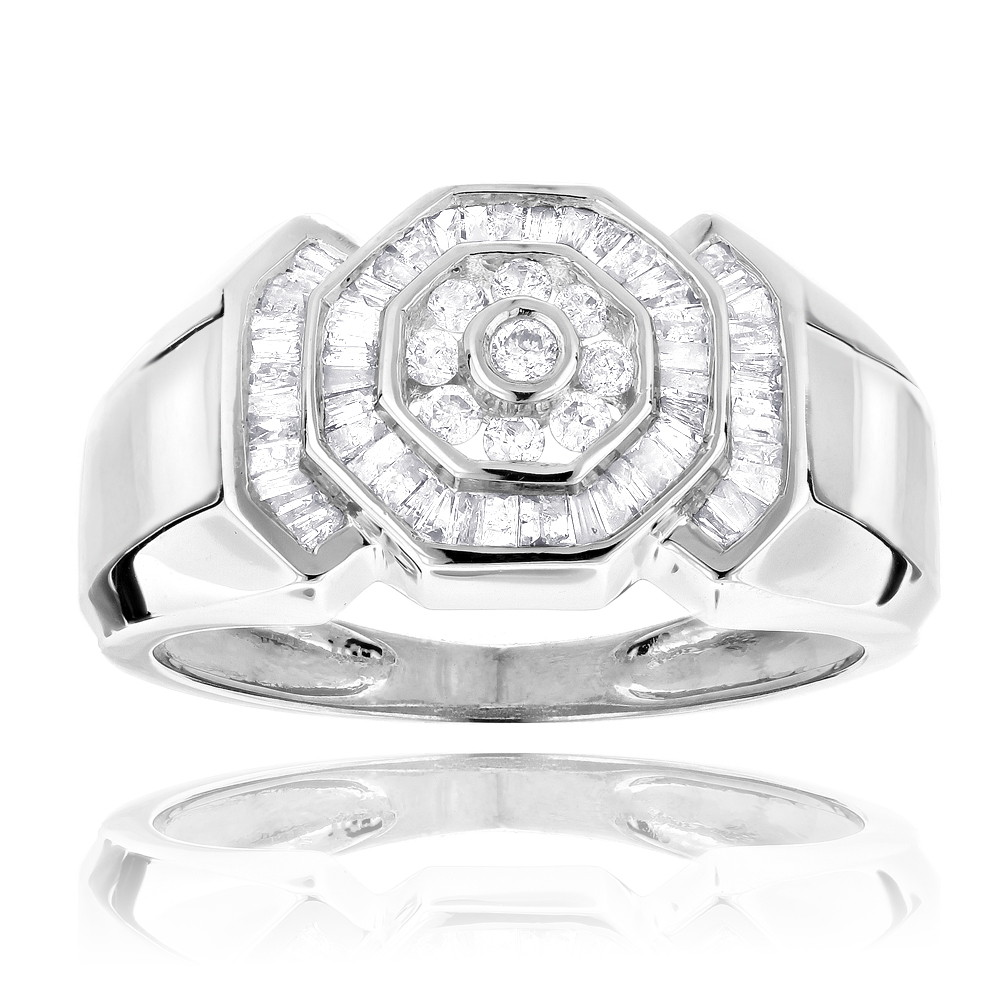 14K Gold Round and Baguette Diamond Mens Ring 0.6ct White Image
