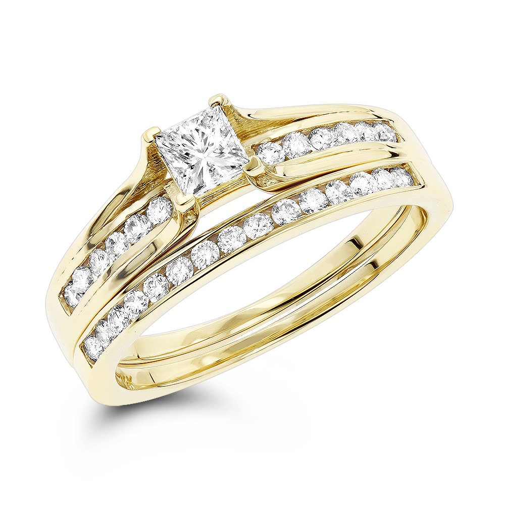 14K Gold Round and Princess Cut Diamond Engagement Ring Set 1.15ct Yellow Image