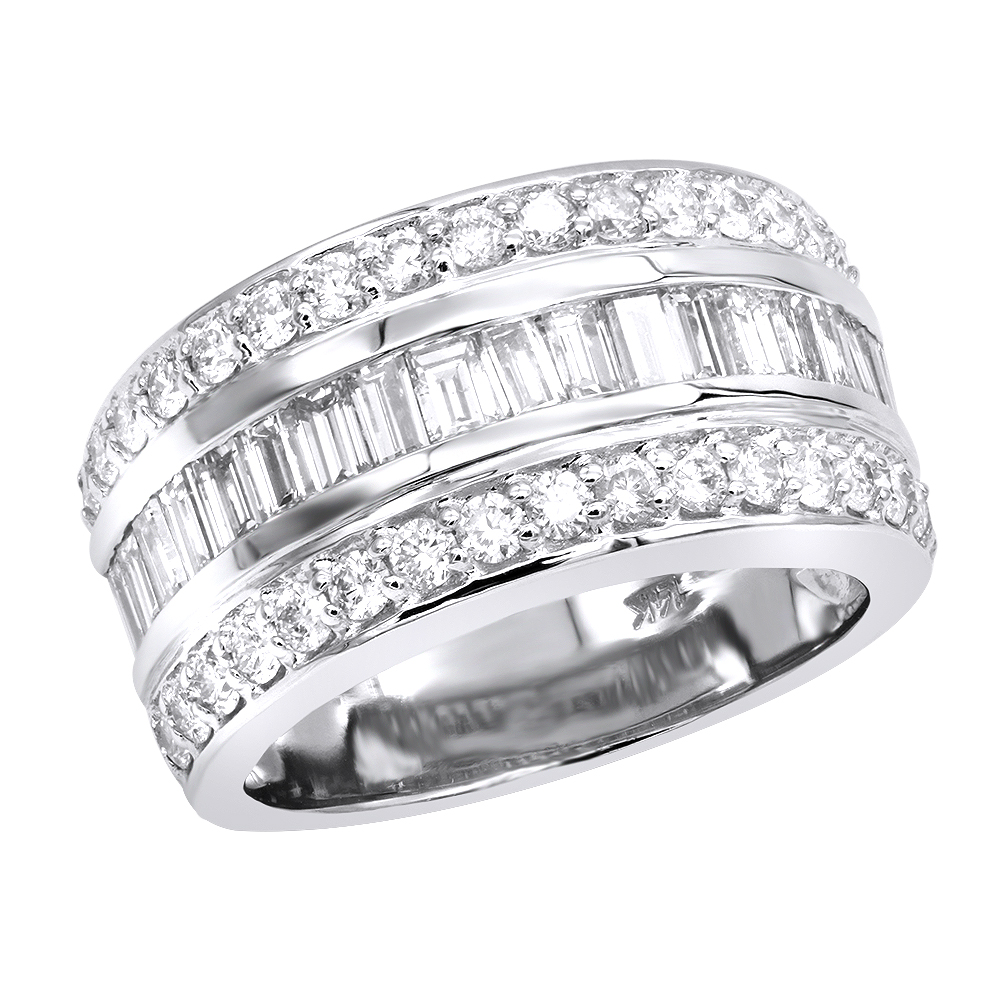 Unique Wedding Bands 14K Gold VS Round and Baguette Diamond Ring 2.86ct White Image