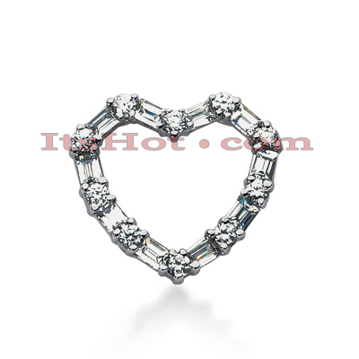 14k Gold Round & Baguette Diamond Heart Pendant 1.20ct Main Image