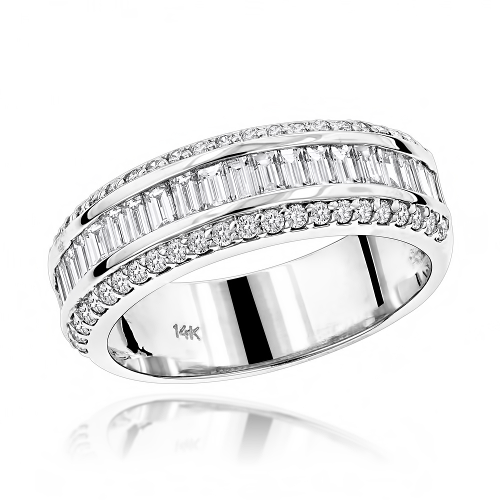 14K Gold Round Baguette Diamond Wedding Band 1.65ct White Image