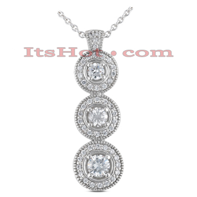 14K Gold Round Diamond 3 Circle Pendant 1.24ct Main Image