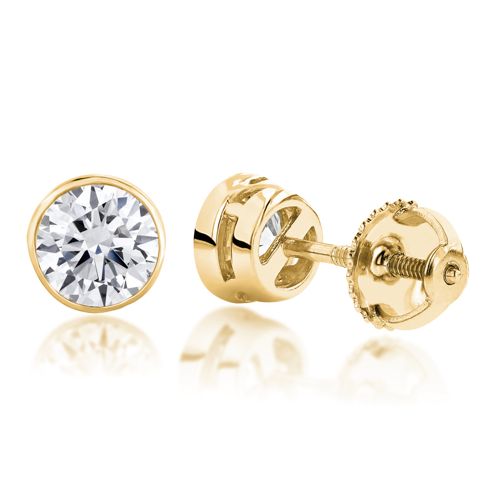 Solitaire Earrings 14K Gold Round Diamond Bezel Stud Earrings 0.5ct Yellow Image